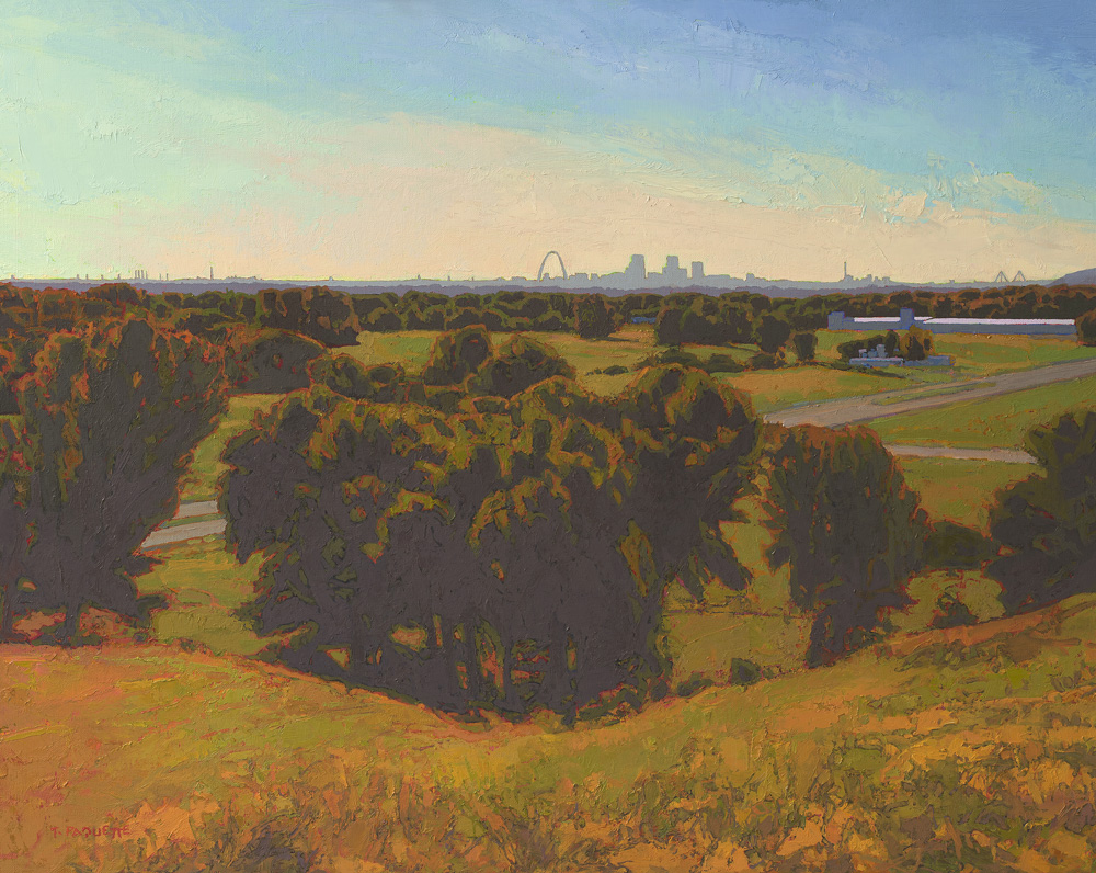 """""""Mound Builders"""" St Louis skyline oil painting"""