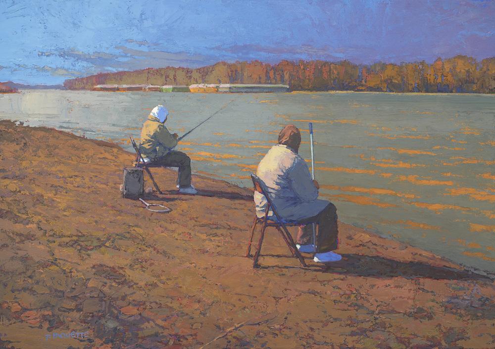 """""""Fishing Reverie"""" Mississippi River oil painting of fisherwomen"""