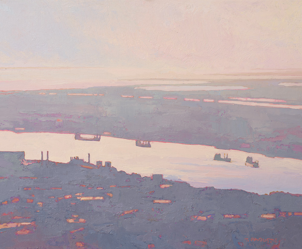 """""""Morning Traffic"""" river barges on Mississippi River at New Orleans oil painting"""