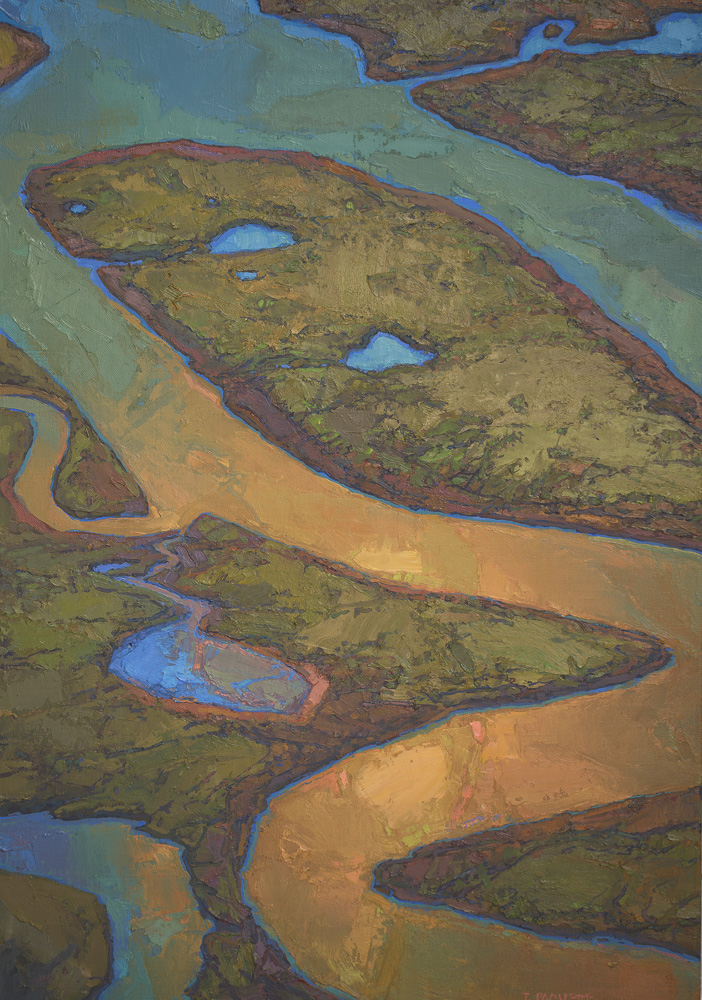 """""""Wandering Waters"""" meandering lower Mississippi River oil painting"""