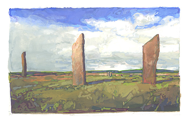 contemporary landscape gouache painting of Orkney standing stones, Scotland