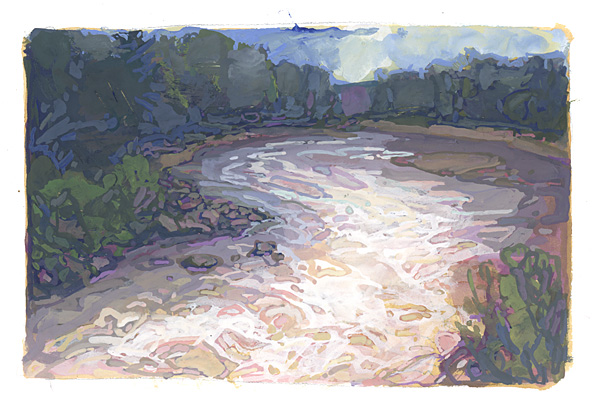 contemporary landscape gouache painting of Penobscot River