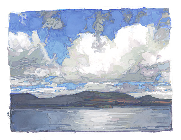 contemporary landscape gouache painting of Scotland