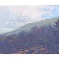 gouache painting of Maine coastal fog, Acadia National Park