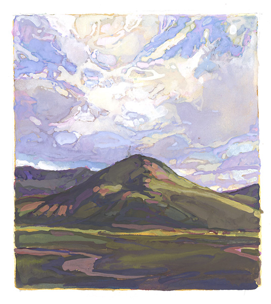 contemporary landscape gouache painting of Scottish highlands