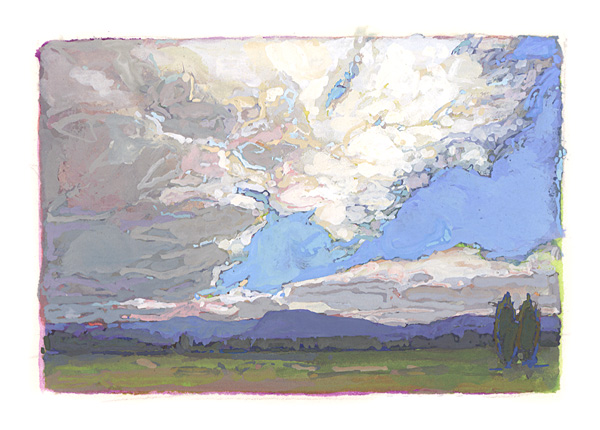 contemporary landscape gouache painting of Adirondack field