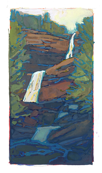 contemporary landscape gouache painting of Kaaterskill Falls, Catskill Mountains