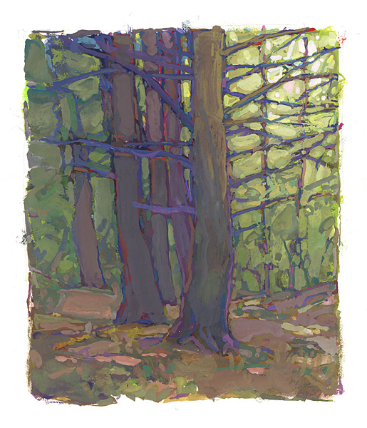 contemporary landscape gouache painting of hemlock trees at Roger Tory Peterson Institute, Jamestown, NY