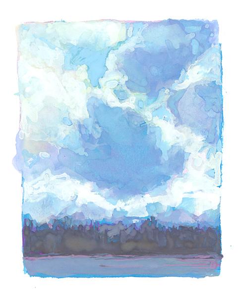 Boreal landscape painting in gouache, cloudscape