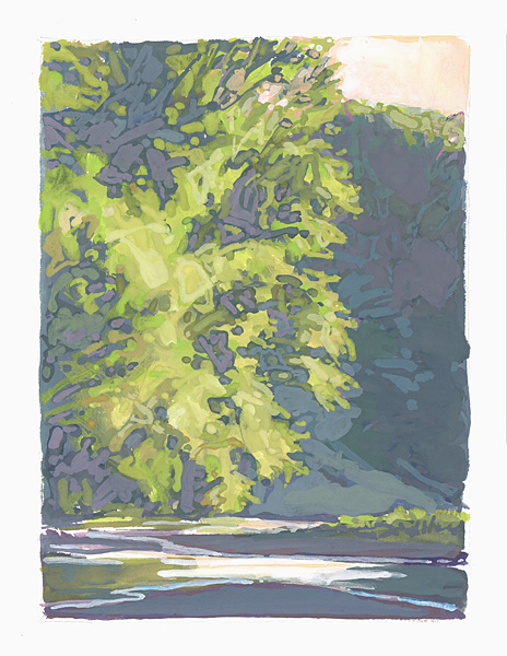 contemporary landscape gouache painting of trees at the mouth of Chautauqua Creek