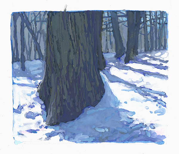 contemporary landscape gouache painting of tree trunks in winter