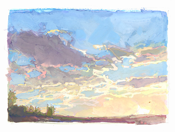 contemporary landscape gouache painting of sunset
