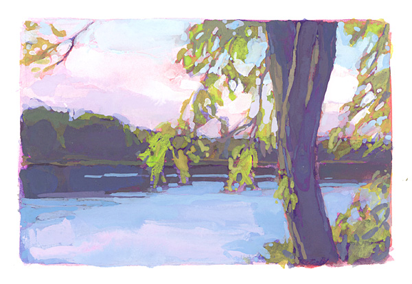 contemporary landscape gouache painting of Penobscot River, Maine