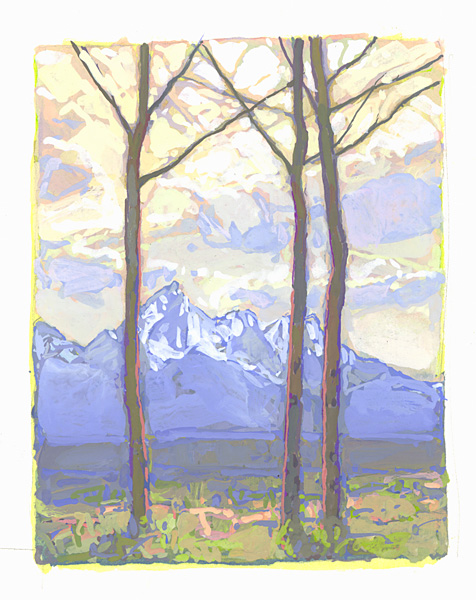 contemporary landscape gouache painting of Grand Tetons