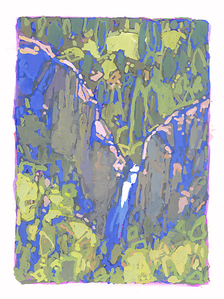 contemporary landscape gouache painting of waterfall in Colorado