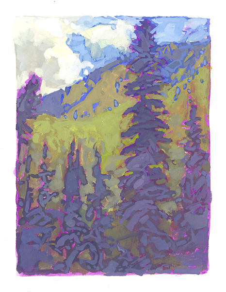 contemporary landscape gouache painting of forest in Colorao