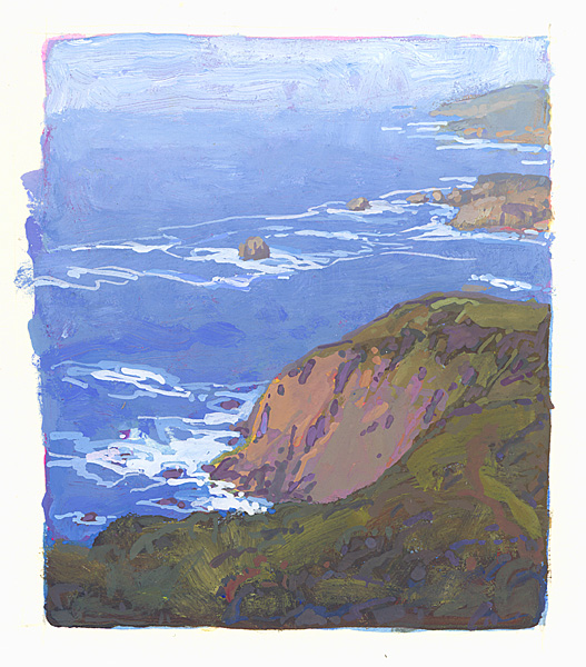 contemporary landscape gouache painting of California coast