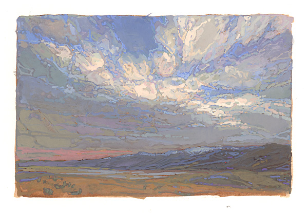 contemporary landscape gouache painting of Death Valley