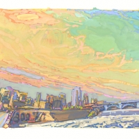 gouache painting of downtown Minneapolis from Stone Arch Bridge at St Anthony Falls