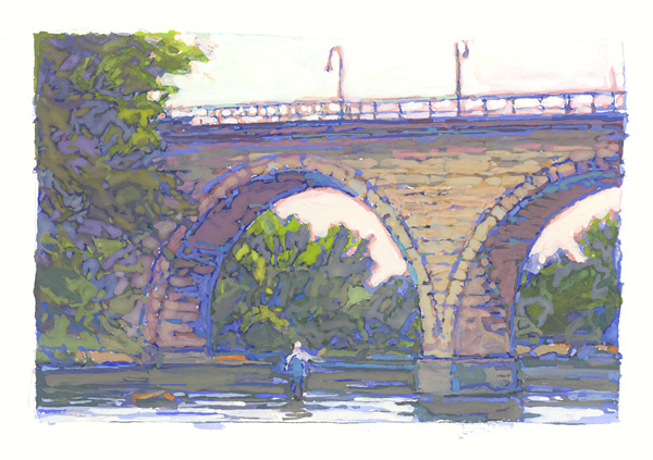 contemporary landscape gouache painting of Stone Arch Bridge