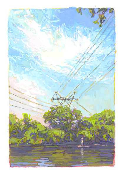 gouache painting of powerlines crossing the Mississippi River in Minneapolis