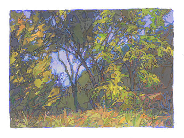 contemporary landscape gouache painting of land at the Nature Conservancy's Whitney Preserve, South Dakota