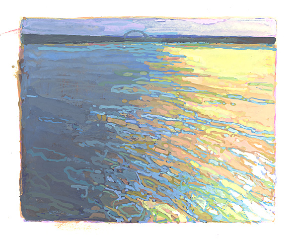 contemporary landscape gouache painting of the Mississippi River