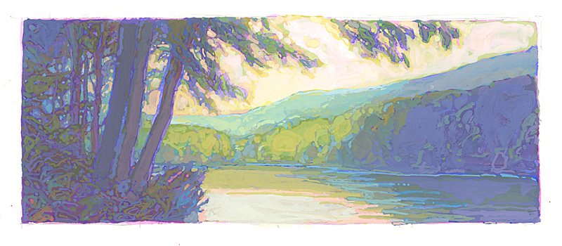 contemporary landscape gouache painting of Allegheny Islands