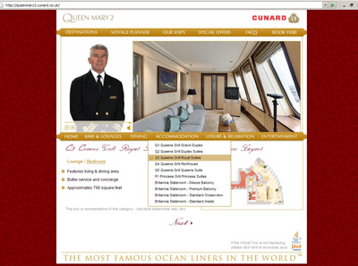 Ad for Queen Mary 2 Suite with Paquette painting